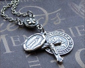 Silver Religious Medal Necklace - Enchanted Traveler's Protection - By TheEnchantedLocket Valentines Day Gift