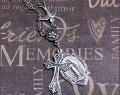 Silver Cross and Medal Necklace - Enchanted Wing and A Prayer - Handmade by TheEnchantedLocket