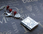 Silver Book Locket Necklace- Enchanted Love Story - By TheEnchantedLocket