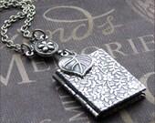Silver Daisy Book Locket Necklace- Enchanted Love Garden - Jewelry by TheEnchantedLocket - ENCHANTED Wedding Best Friend Love Bride Gift