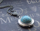 Silver Locket Necklace - Enchanted Robin's Egg - By TheEnchantedLocket - STUNNING Bridesmaid Something Blue Wedding Gift