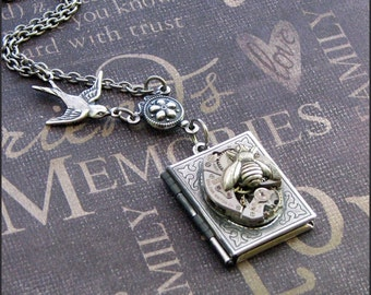 Silver Book Locket Necklace- Enchanted Birds and Bees - Jewelry by TheEnchantedLocket - ORIGINAL Steampunk Bride Daughter Friend Present
