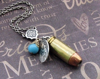 Bullet Charm Necklace - Enchanted Bullet Proof Faith - By TheEnchantedLocket