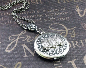 LOCKET Silver Locket Necklace - Enchanted Owl's Nest - Jewelry by TheEnchantedLocket - WOODLAND Anniversary Bride Birthday Gift