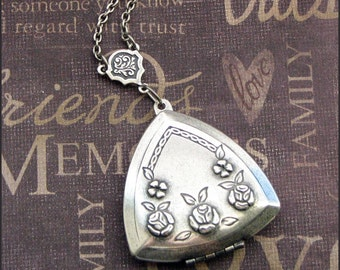 Silver Triangle Locket Necklace - Enchanted Love Triangle - Jewelry by TheEnchantedLocket - SWEET Bride Wedding Anniversary Gift