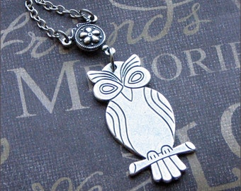 Silver Owl Necklace - Enchanted Wise Owl - Jewelry by TheEnchantedLocket - LOVELY Teacher Birthday Gift