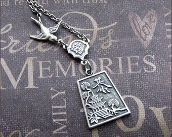 Silver Pagoda Necklace - Enchanted Good Karma - Jewelry by TheEnchantedLocket - BEAUTIFUL Wedding Anniversary Mother Good Luck Gift - Sale -