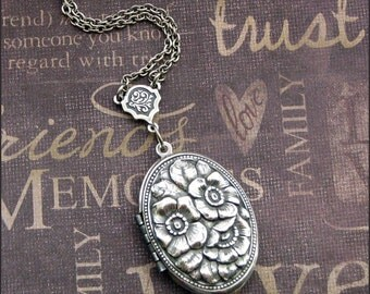 Silver Locket Necklace - Enchanted Romantic Rose - Handmade by TheEnchantedLocket Valentines Day Gift