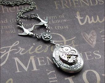 Silver Steampunk Locket Necklace- Enchanted Love Birds In Flight - Handmade by TheEnchantedLocket