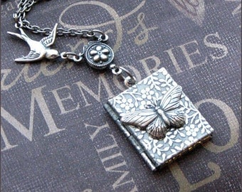 Silver Book Locket Necklace- Enchanted Butterfly Garden - By TheEnchantedLocket - PERFECT Stocking Stuffer Christmas Gift