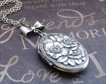 Silver Locket Necklace - Enchanted Bow and Roses - By TheEnchantedLocket Valentines Day Gift