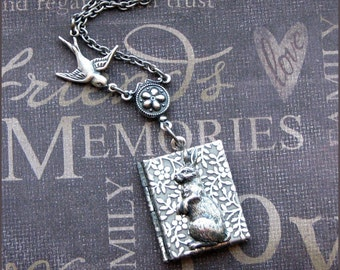 Locket Necklace in Silver - Book Style with Daisies- Enchanted Wonderland - Handmade by TheEnchantedLocket