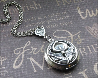 Silver Calla Lily Locket Necklace- Enchanted Calla Lily - Jewelry by TheEnchantedLocket - LOVELY Best Friend Love You Daughter Mother Gift