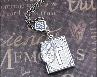 Locket Necklace - Book Style with Cross Engraved - Virgin Mary Charm - Enchanted Prayer Book - Handmade by TheEnchantedLocket