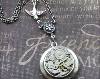 Silver Steampunk Locket Necklace- Enchanted Flight Home - Handmade by TheEnchantedLocket