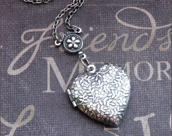 Silver Heart Locket Necklace- Enchanted Daisy Love - Jewelry by TheEnchantedLocket - SWEET Birthday Daughter Wedding Christmas Gift