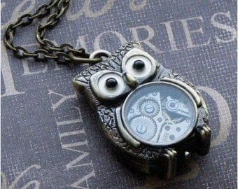 Bronze Owl Necklace, Steampunk Jewelry, Owl Jewelry, Owl Pendant, Steampunk Owl Bot, Teacher's Gift, Pendant Necklace, Steampunk Fashion OWL