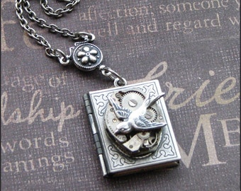Silver Book Locket Necklace- Enchanted Sparrow's Book - Jewelry by TheEnchantedLocket - STUNNING Wedding Bride Anniversary Love You Gift