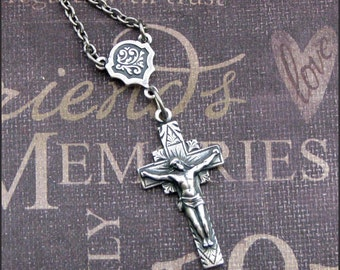 Silver Crucifix Necklace - Enchanted Cross - Handmade by TheEnchantedLocket
