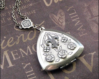Locket Necklace in Silver - Triangle Shape with Roses - Enchanted Fleur  And Roses - Handmade by TheEnchantedLocket