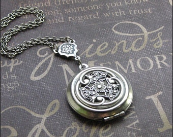 Silver Locket Necklace- Enchanted Victorian Love Jewelry by TheEnchantedLocket - VICTORIAN Wedding Anniversary Birthday Valentines Day Gift