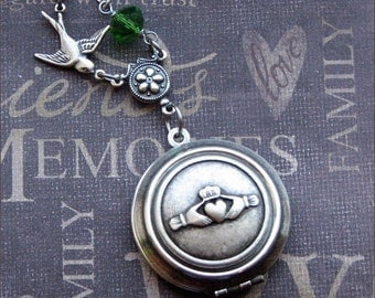 Silver Claddagh Locket Necklace- Enchanted Irish Wedding - Jewelry by TheEnchantedLocket - STUNNING Wedding Bride Wife Gift