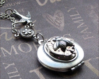Silver Steampunk Locket Necklace - Enchanted Birds and Bees - Jewelry by TheEnchantedLocket - UNIQUE Anniversary Wedding Bride Gift