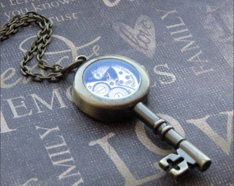 Antiqued Brass Key Necklace - Enchanted Steampunk Castle Key - By TheEnchantedLocket