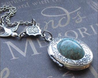 Silver Wreath Locket Necklace - Enchanted Robin Egg - By TheEnchantedLocket