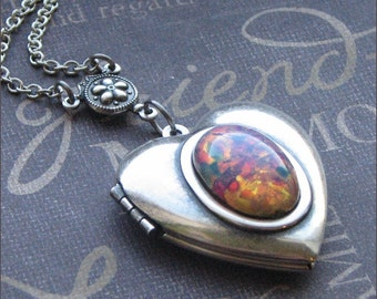 Silver Heart Locket Necklace - Enchanted Fire Opal - By TheEnchantedLocket