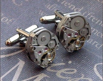 Silver Steampunk Cufflinks - Enchanted Groom - Jewelry by TheEnchantedLocket - STEAMPUNK WEDDING Groom Groomsmen Husband Father Gift