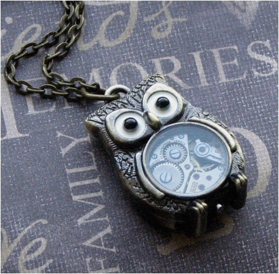 Steampunk Owl Necklace - Enchanted Steampunk Owl Bot - Jewelry by TheEnchantedLocket - STEAMPUNK Teacher Best Friend Birthday Present