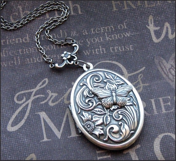 LOCKET Silver Locket Necklace - Enchanted Butterfly Garden - Jewelry by TheEnchantedLocket - VICTORIAN Birthday Wife Mother Christmas Gift