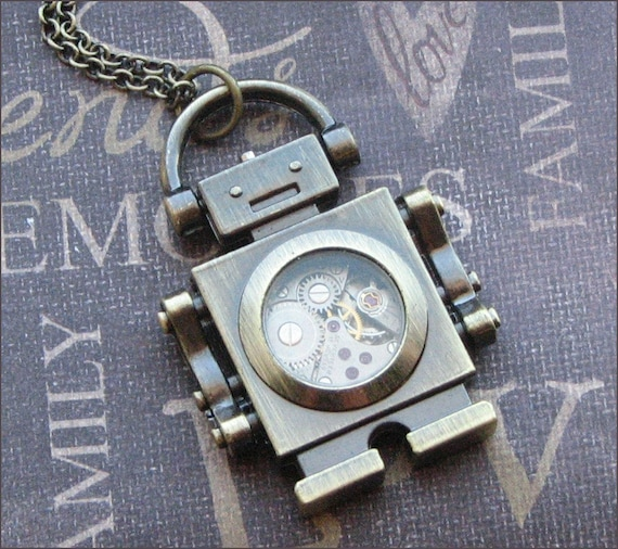 Bronze Robot Necklace - Enchanted Steampunk Bot - Jewelry by TheEnchantedLocket - VERY COOL Best Friend Anniversary Unisex Gift