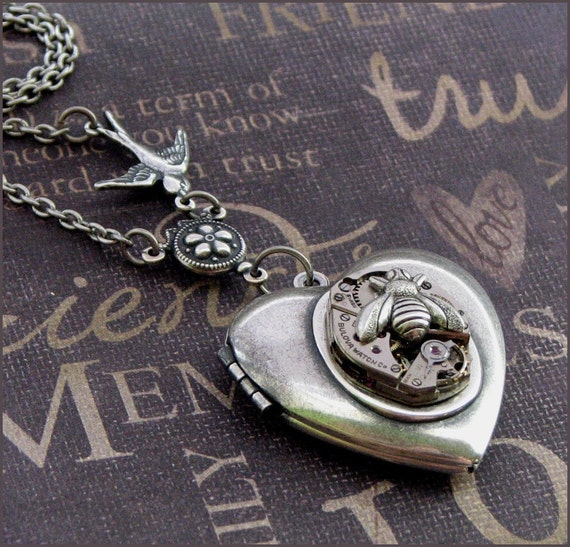 Silver Steampunk Heart Locket Necklace- Enchanted Birds and Bees - Handmade by TheEnchantedLocket