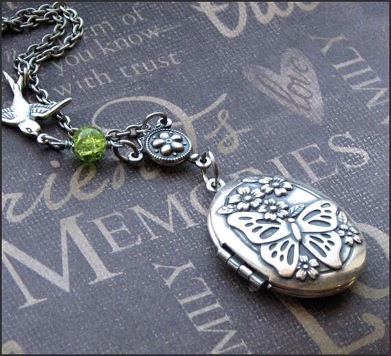 Silver Locket Necklace - Enchanted Peridot Butterfly Garden - Handmade by TheEnchantedLocket