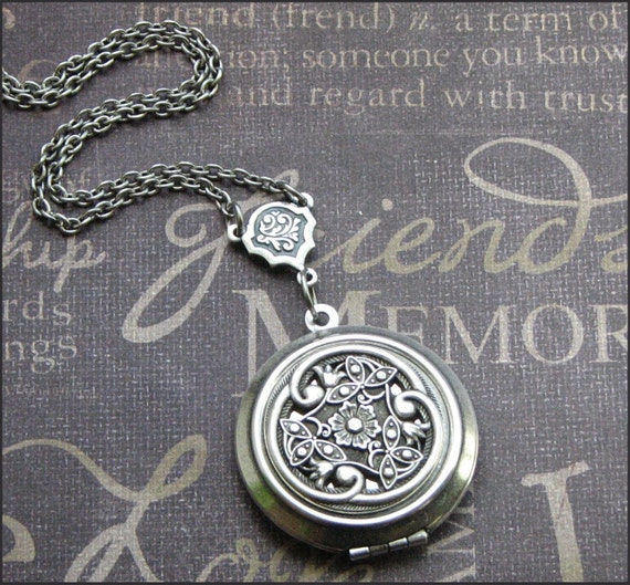 Silver Locket Necklace - Enchanted Victorian Love - Jewelry by TheEnchantedLocket - PERFECT Bride Wife Love You Birthday Gift Celtic Jewelry