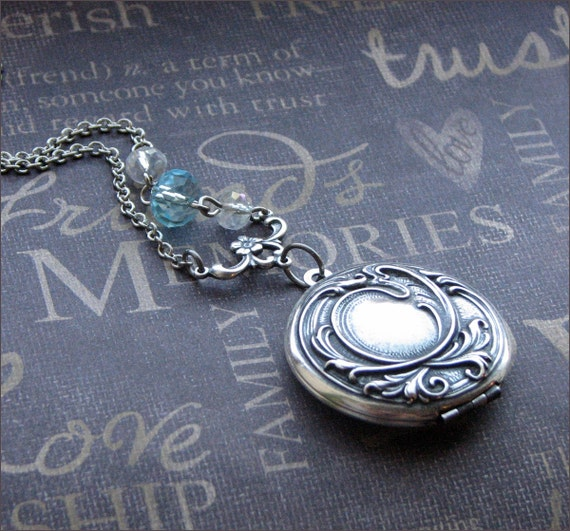 Silver Locket Necklace - Enchanted Something Blue - Jewelry by TheEnchantedLocket - PERFECT Wedding Bride Christmas Birthday Gift