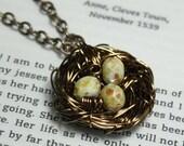 Vintaj Brass Bird Nest Pendant Necklace