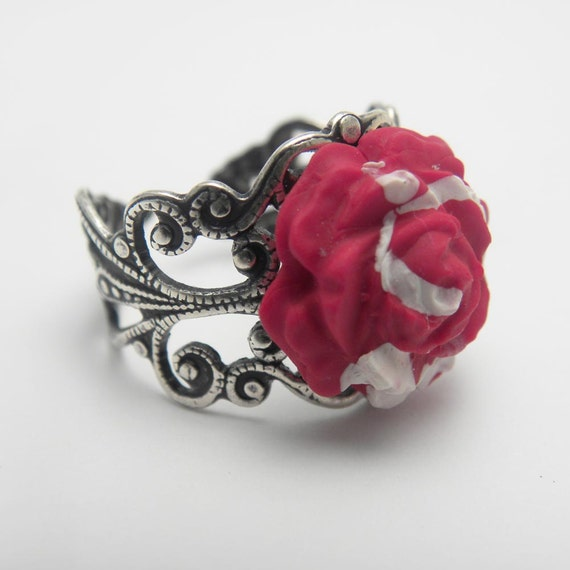 Polymer Clay Jewelry Red Rose Ring in Silver Filigree