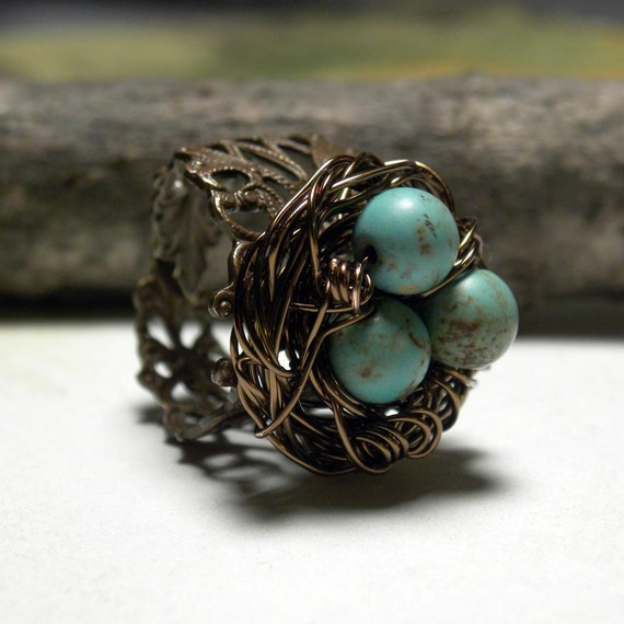 Bird Nest Ring, Antiqued Brass Wire Wrapped Gemstone Adjustable Ring