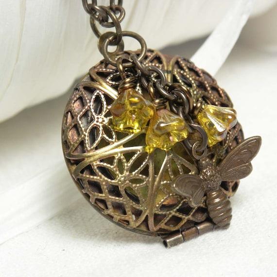 Honey Bee Jewelry Filigree Locket Necklace in Antique Brass
