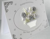 Silver wedding anniversary card, congratulations, quilled, 25th