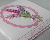 Quilled birthday card, paper quilling, lavender