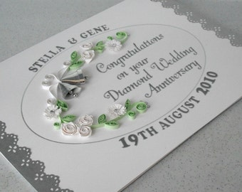 60th anniversary card, diamond wedding, paper quilling