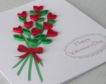 Quilled hearts bouquet Valentine card with personalized message