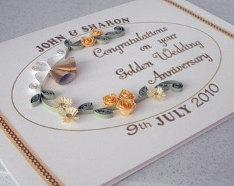 Handmade personalized quilled 50th golden wedding anniversary card with quilling bells and roses