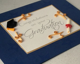 Graduation card, quilled, handmade, congratulations