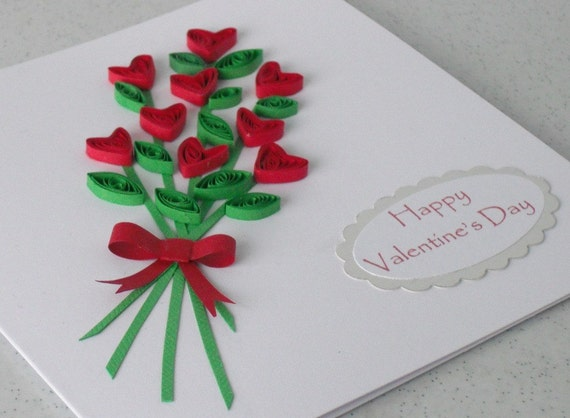 Quilled hearts bouquet Valentine card with personalized – How to Make Valentines Cards