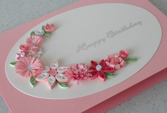 Handmade birthday greeting card paper quilled quilling – Paper Birthday Card
